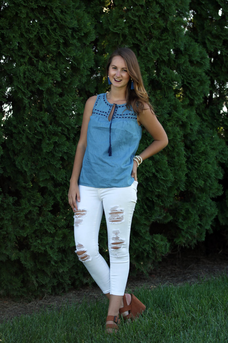 embroidered swing tank, blue top, tassels