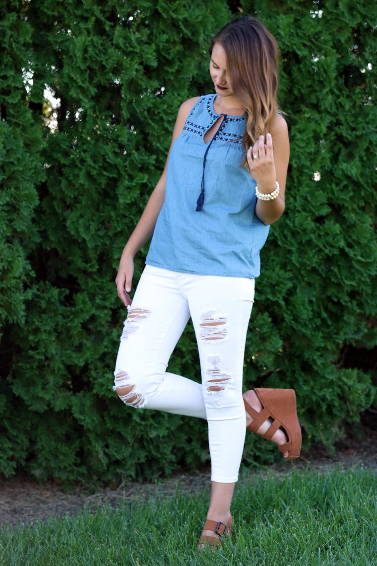 white denim jeans, suede wedges, denim top, tassels
