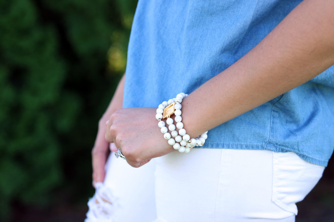 denim tank, bracelet set, white bracelet