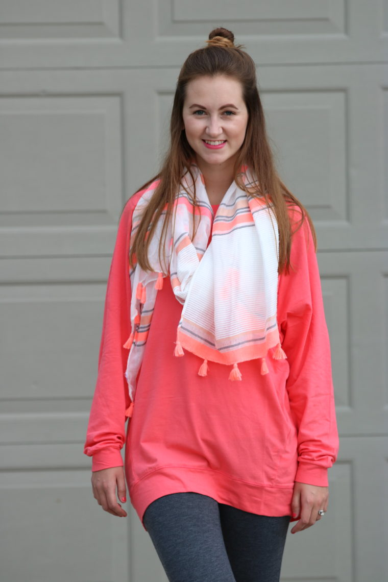tassel scarf, coral slouchie, top knot, comfy look