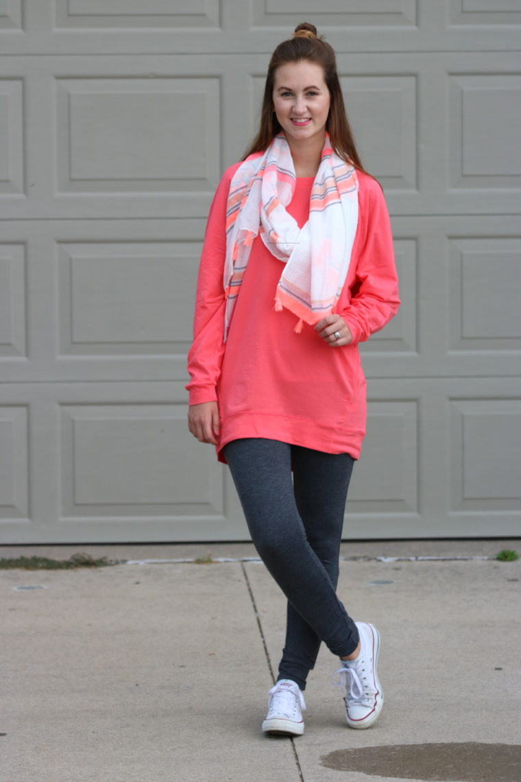 coral slouchie, tassel scarf, converse, top knot