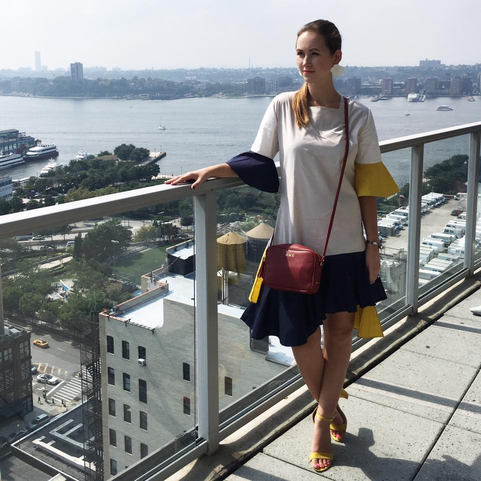 navy and yellow dress, Storets, GiGi New York bag, Shopstyle party, The GlassHouse, nyfw