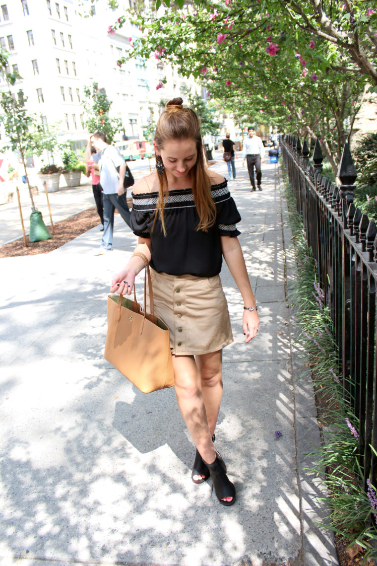 nyfw, suede skirt, off the shoulder top, top knot