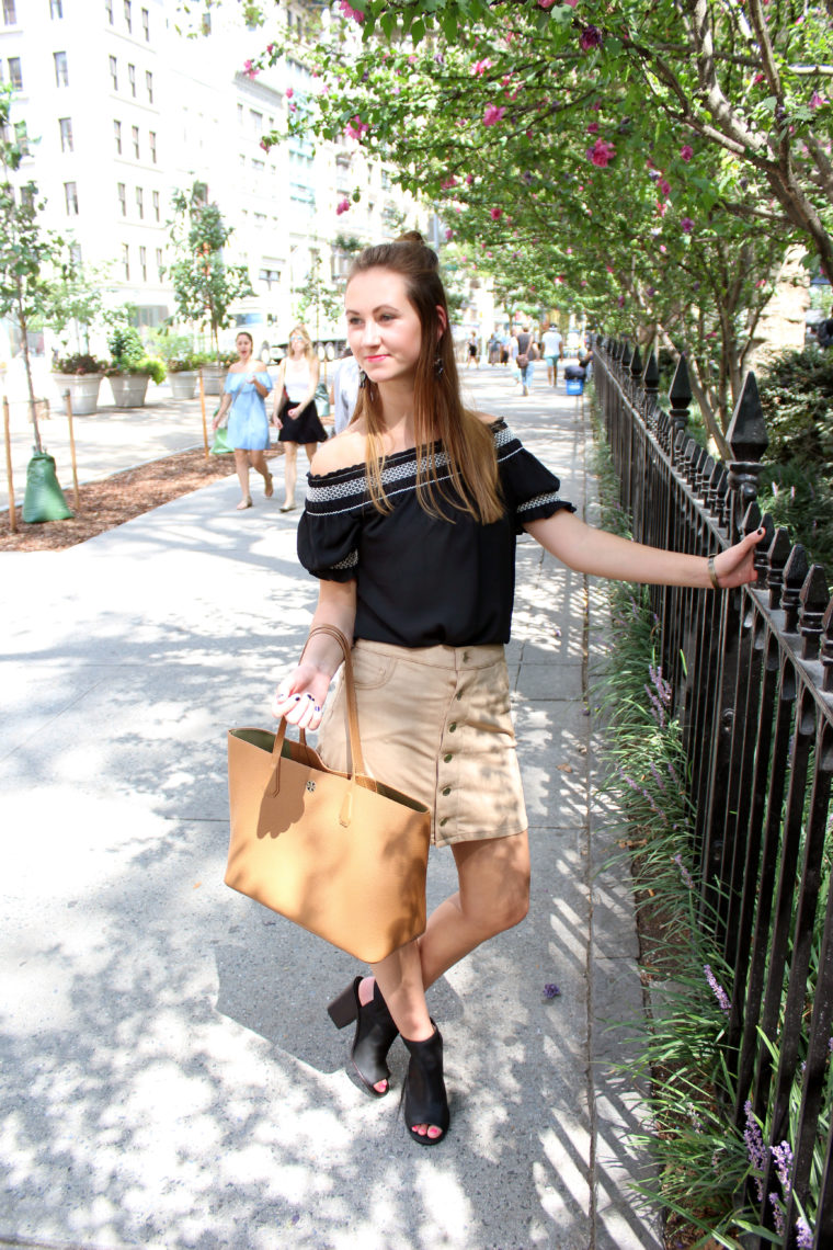 Tory Burch tote, brown handbag, nyfw, suede skirt, off the shoulder top
