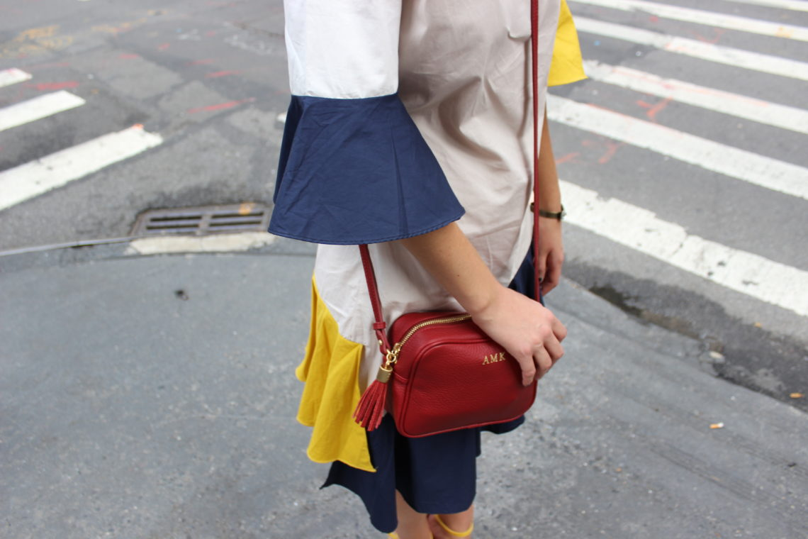 bell sleeves, yellow and blue dress, Storets, ny, nyfw, Gigi New York
