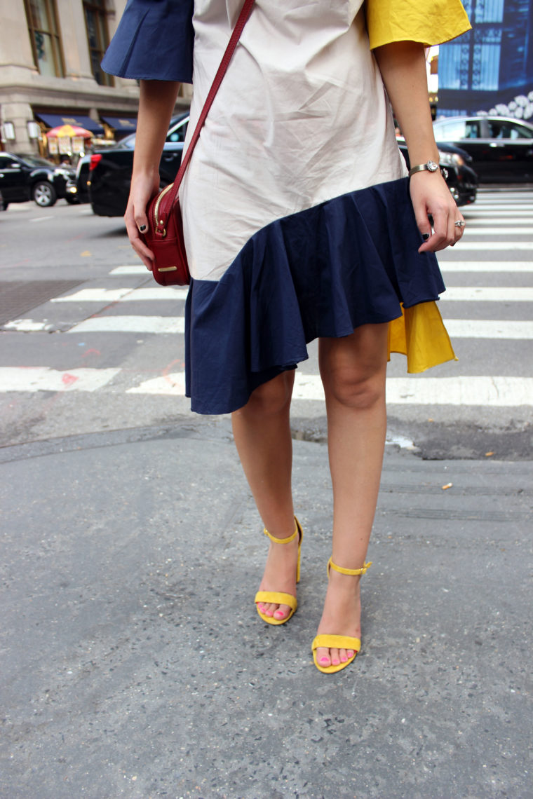 layered dress, Storets, yellow heels, nyfw, New York