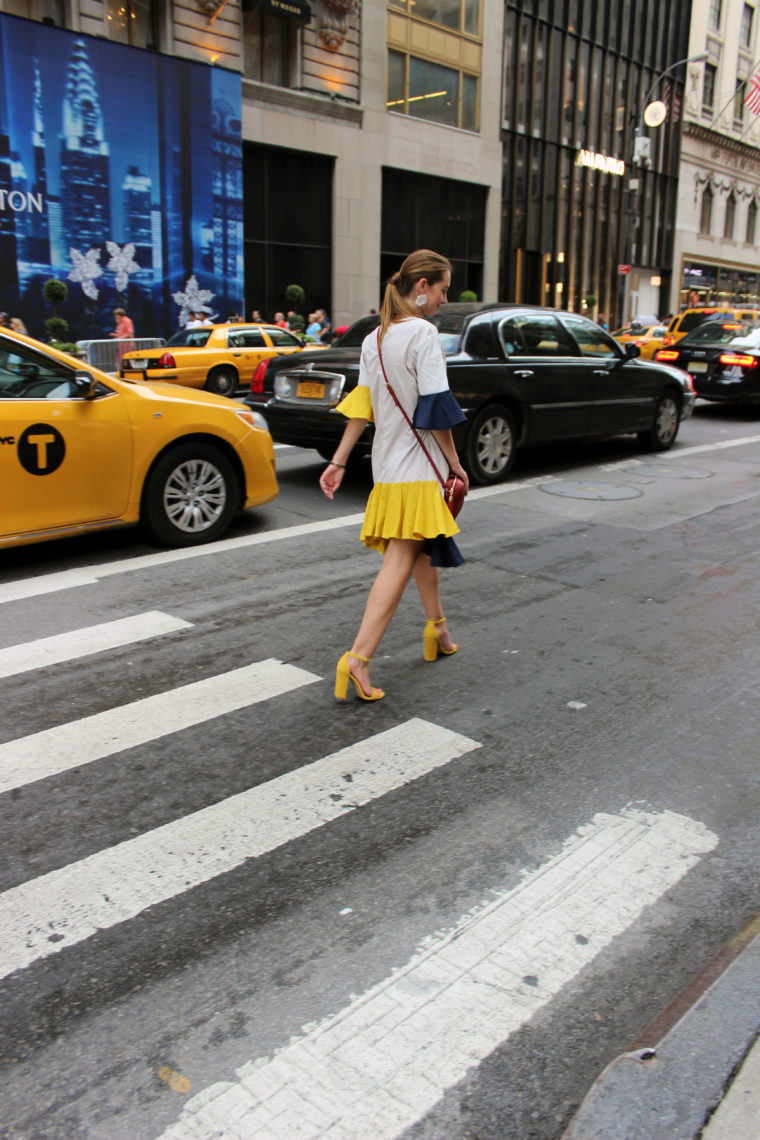 taxi, New York, fashion week, yellow and blue dress, nyfw, Storets. taxi