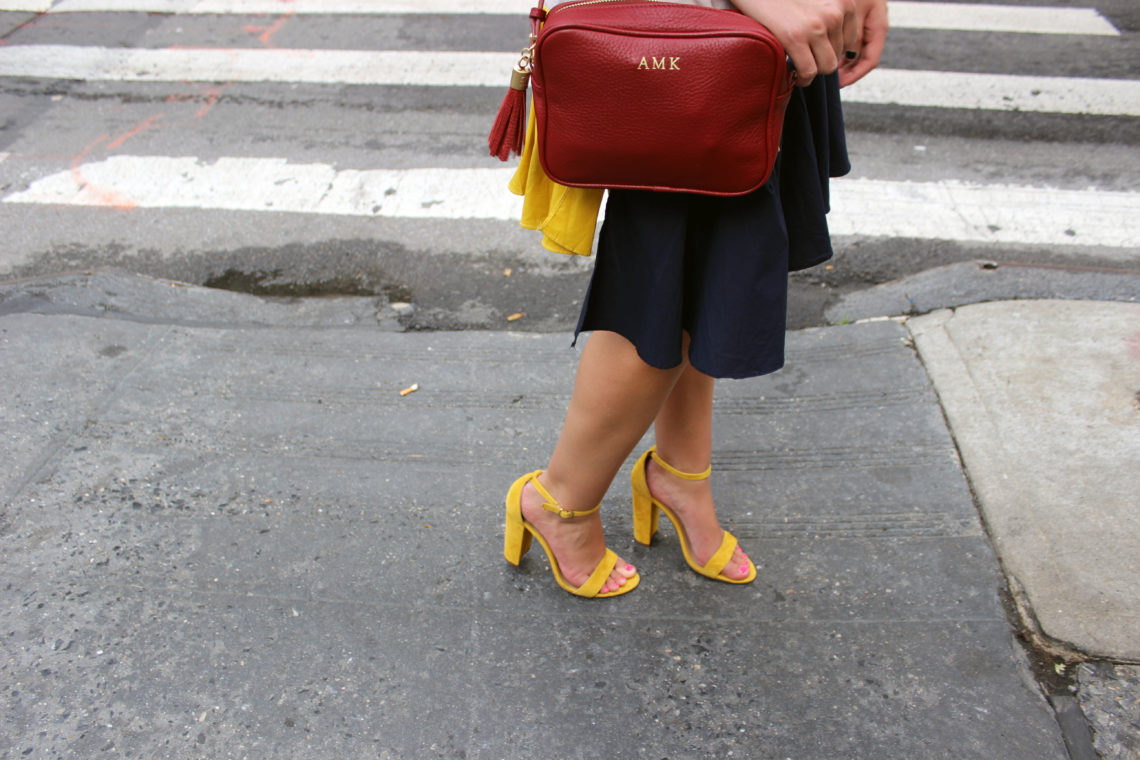 Steve Madden heels, yellow shoes, Gigi New York, maroon bag, nyfw, New York