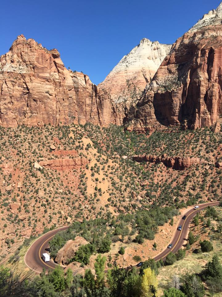 winding road, Zion National Park, Utah, cliffs