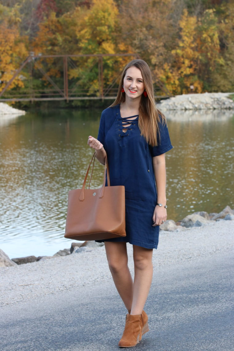 lace up dress, tan booties, Tory Burch tote, Kent Park, Iowa, fall outfit