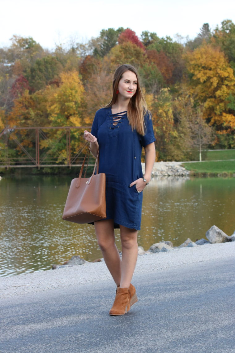 booties, denim dress, brown bag, fall look, fall
