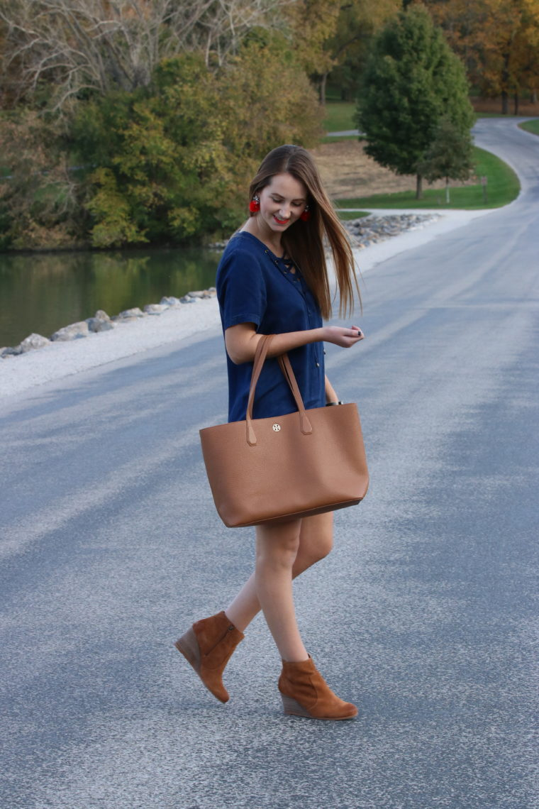 perry tote, lace up dress, fall look, brown booties, Kent Park, Iowa, fall