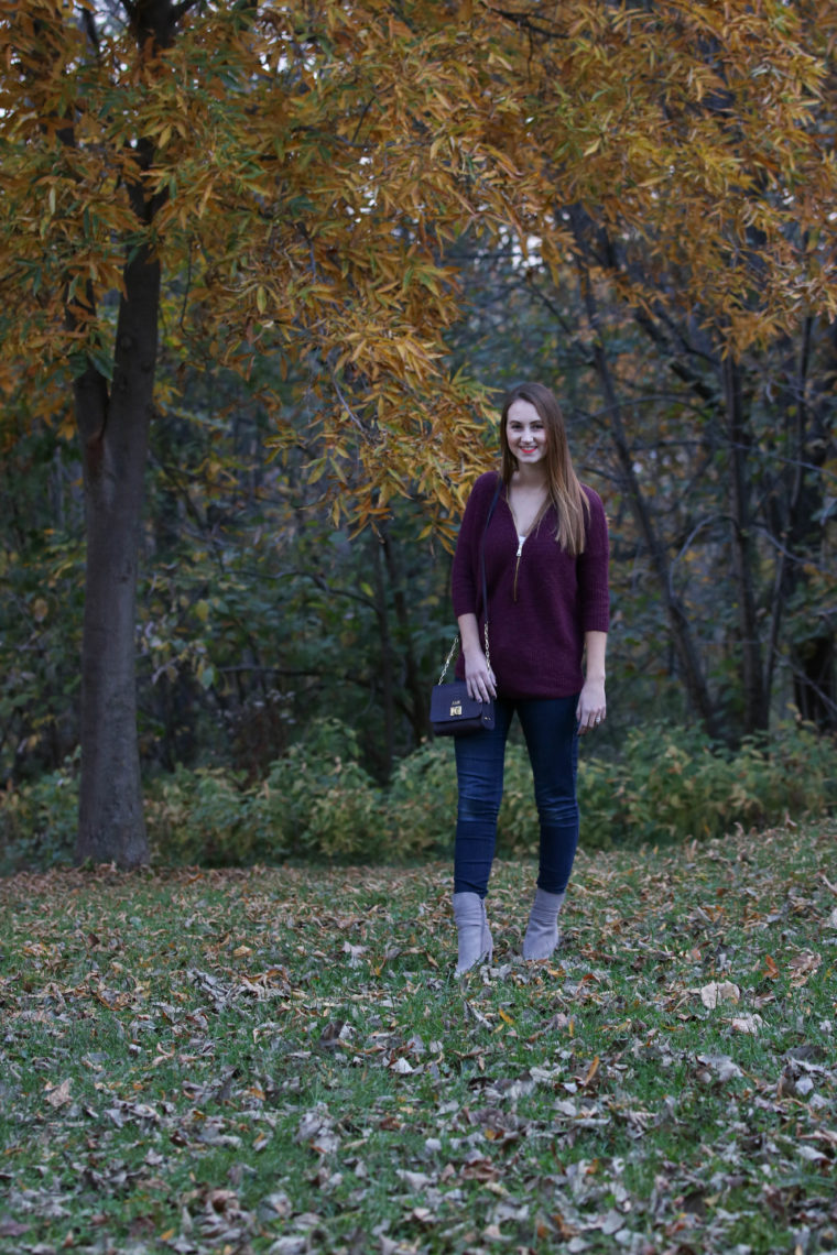 yellow leaves, Kent Park, zip up sweater, fall