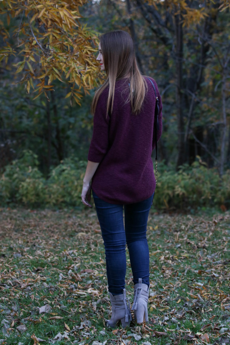 grey booties, purple sweater, fall, Kent Park, Iowa, yellow leaves