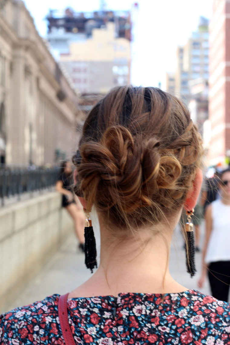 tassel earrings, braid bun, crown braid, Moynihan Station, New York Fashion Week, Tresemme