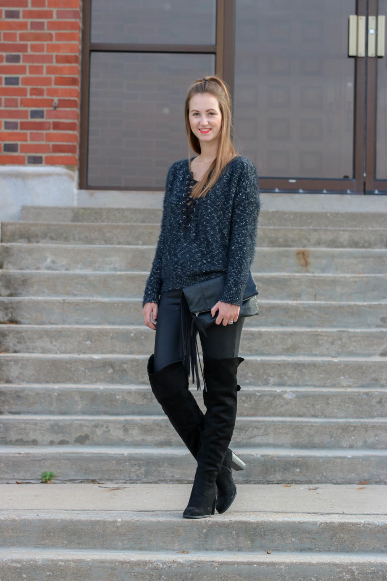 lace up sweater, OTK boots, black look, suede boots