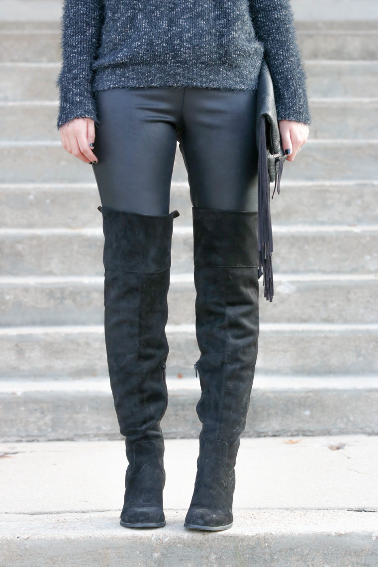 OTK boots, suede boots, black leather leggings, fall look