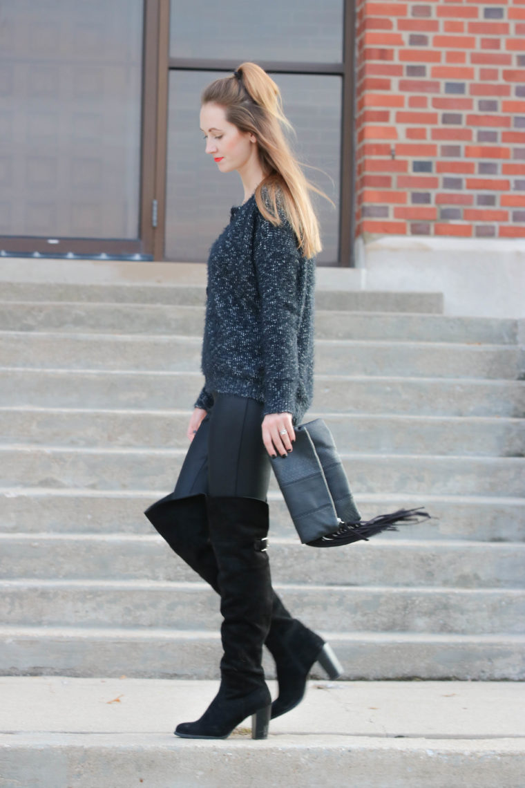 over the knee boots, fuzzy sweater, fringe clutch, fall outfit