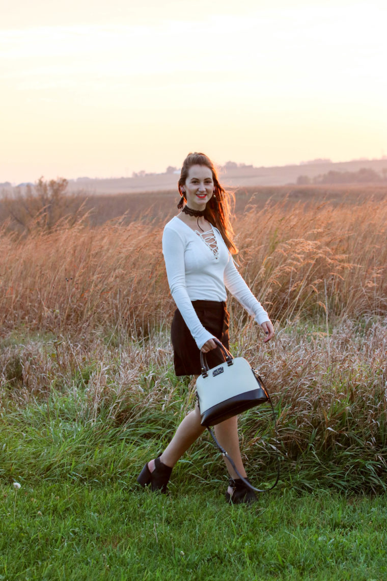 Iowa sunset, black and white look, lace up top, black booties, suede skirt