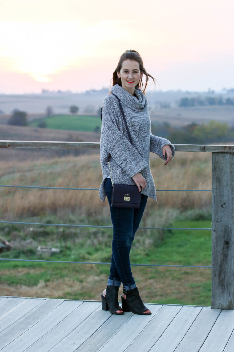 black booties, fall, turtleneck sweater, sunset