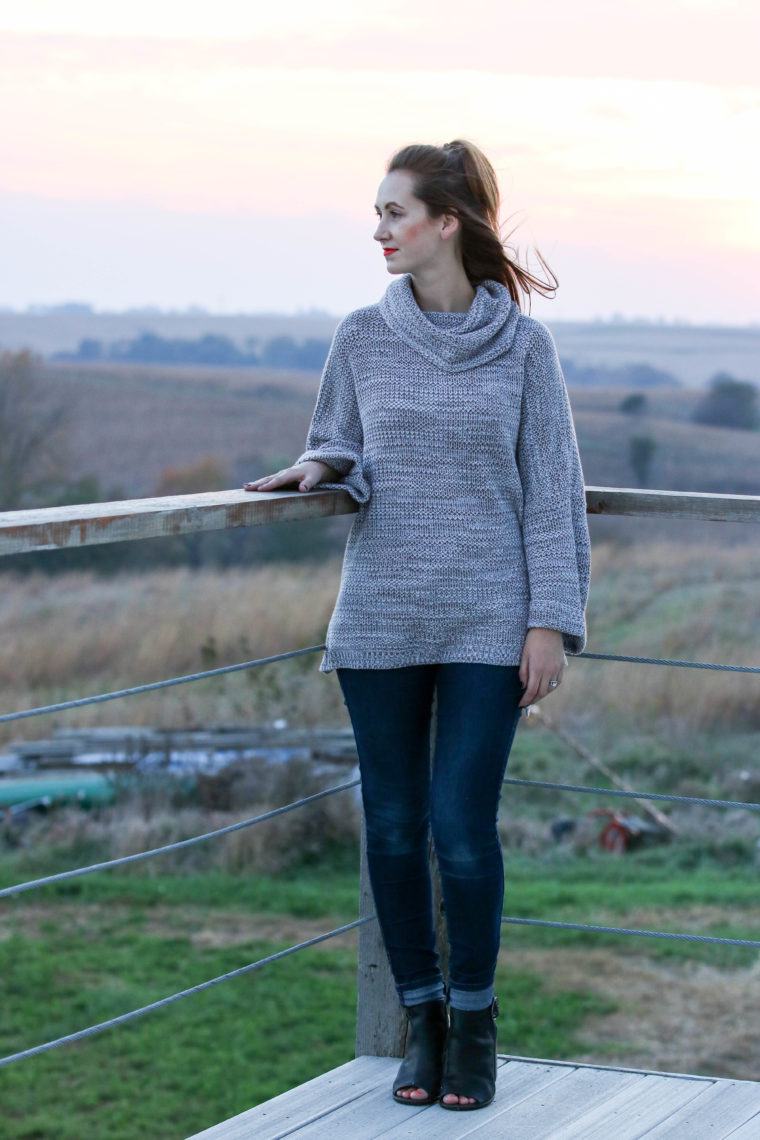 country, sunset, Iowa, turtleneck sweater, fall, black booties