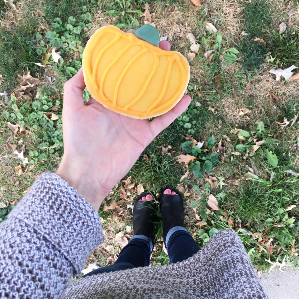 pumpkin cookie, Panera Bread, black booties, fall, chunky sweater