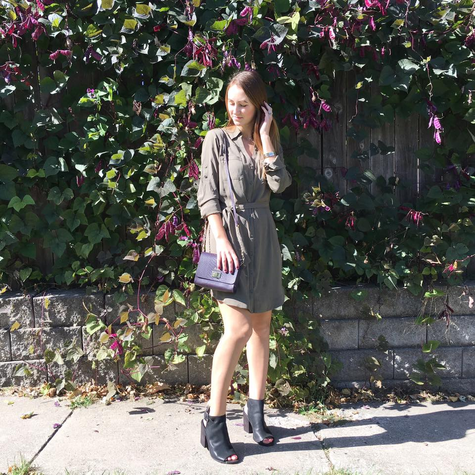 olive green dress, black booties, fall, GiGi New York
