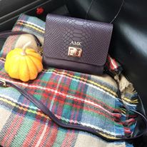 mini pumpkin, plaid blanket scarf, purple bag, GiGi New York