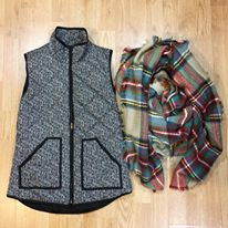 herringbones vest, J Crew, plaid scarf, blanket scarf, fall