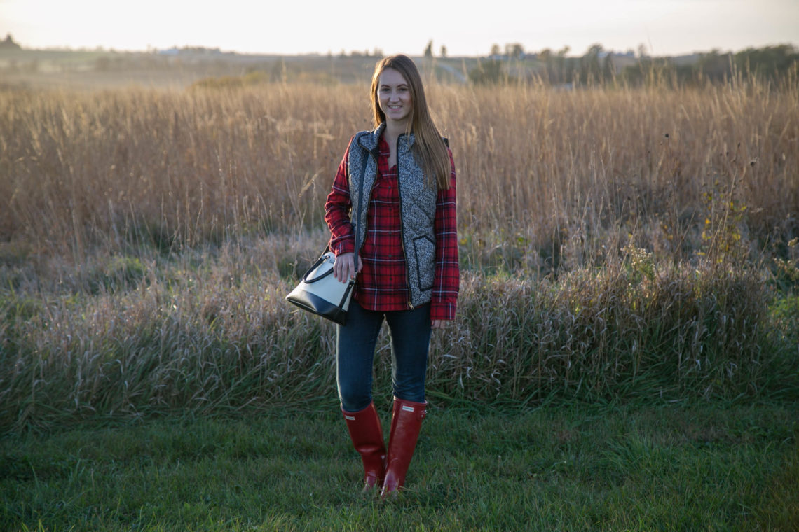 puffer vest, Hunter boots, plaid flannel, fall