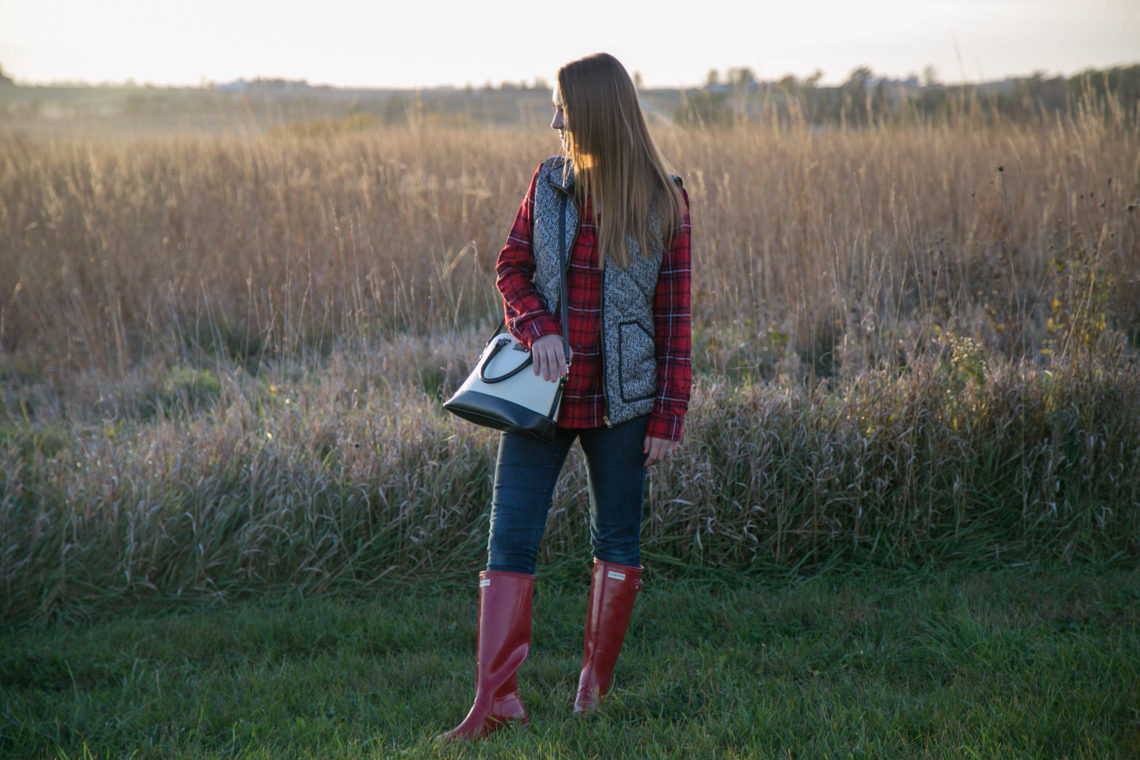 red Hunter boots, herrinbones vest, plaid flannel, fall