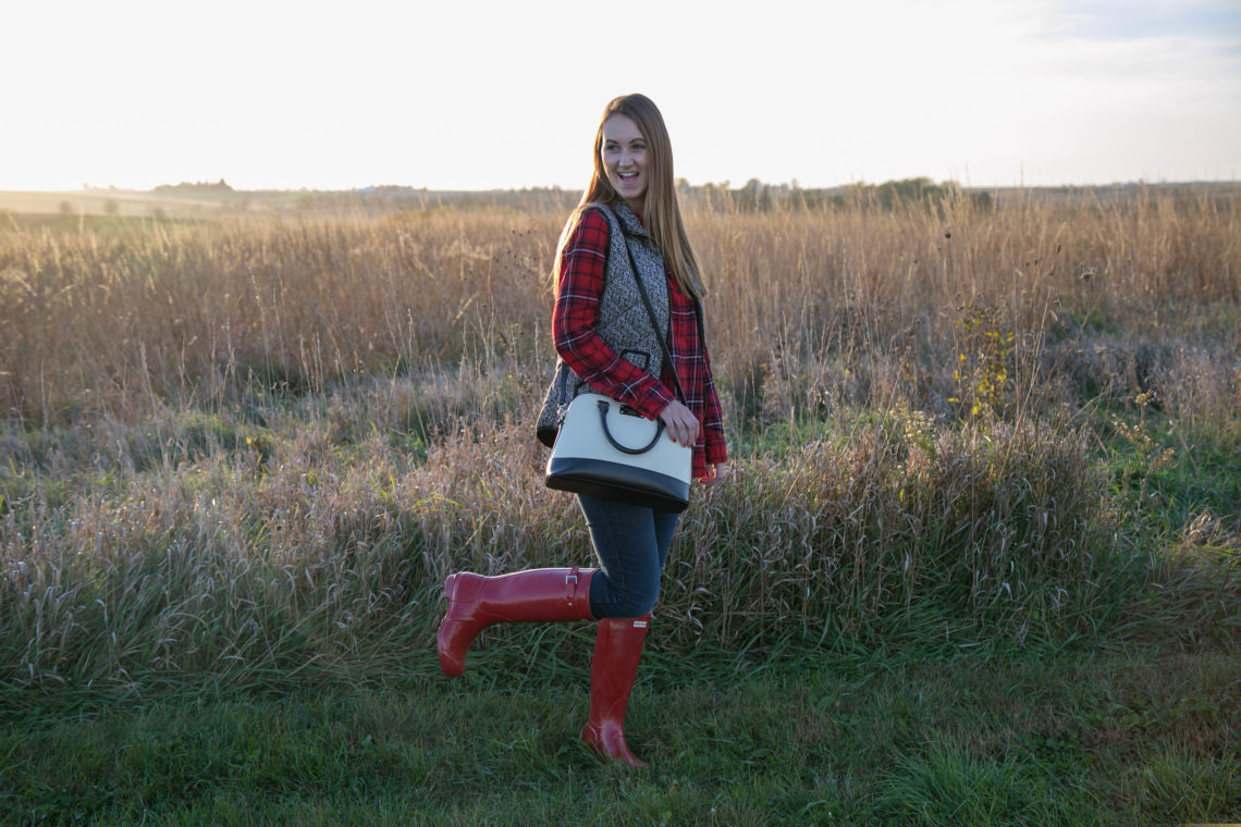 Hunter boots, puffer vest, plaid flannel, fall look