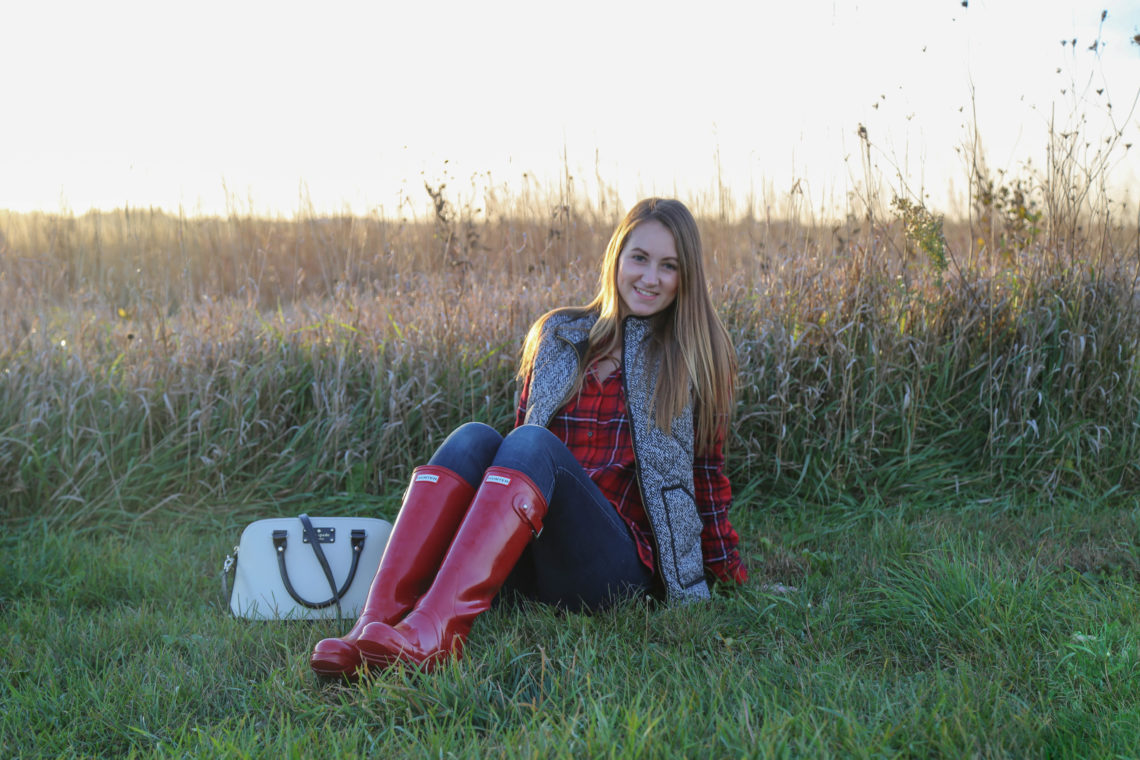 glossy Hunter boots, puffer vest, red flannel, fall outfit