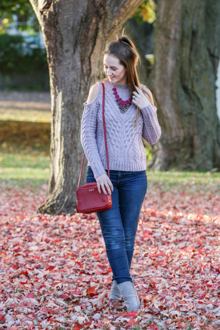 statement necklace, Baublebar, red bag, fall leaves, soft sweater