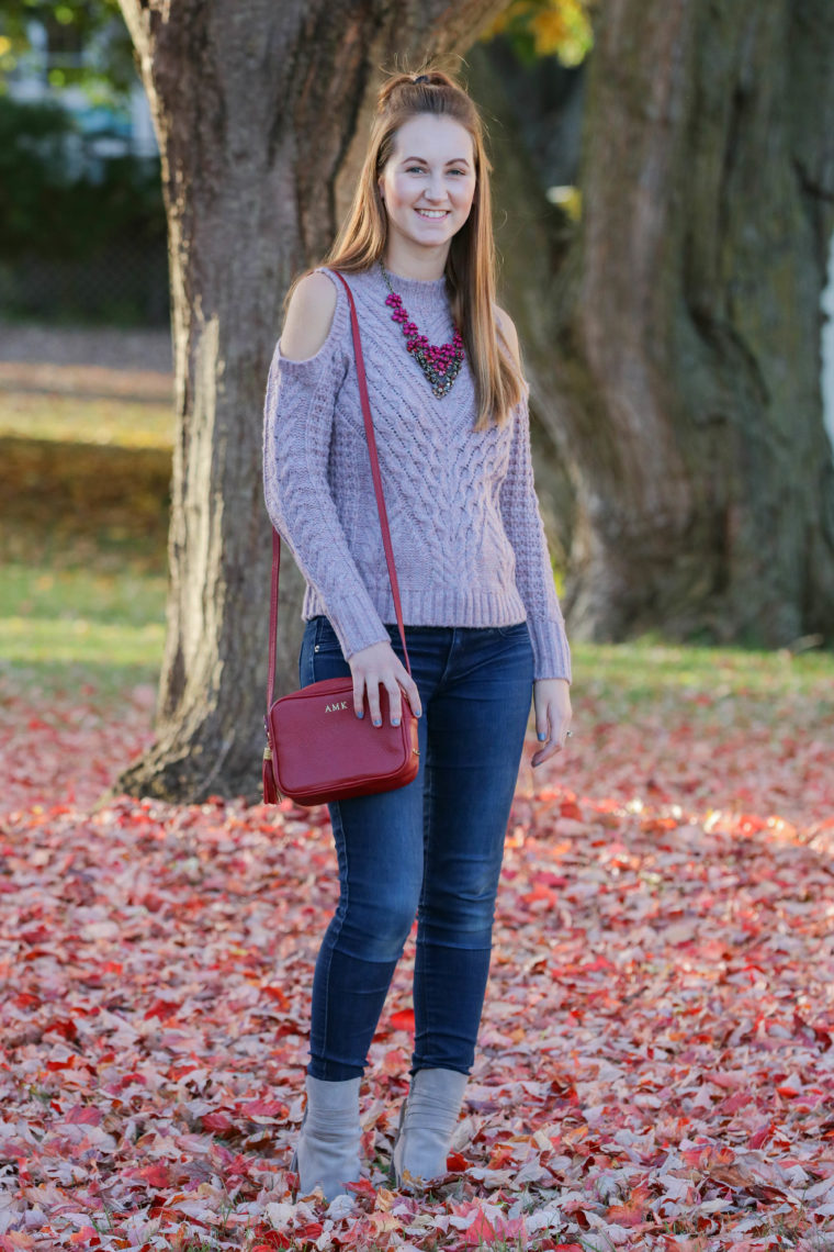 cold shoulder sweater, grey booties, red leaves, fall outfit