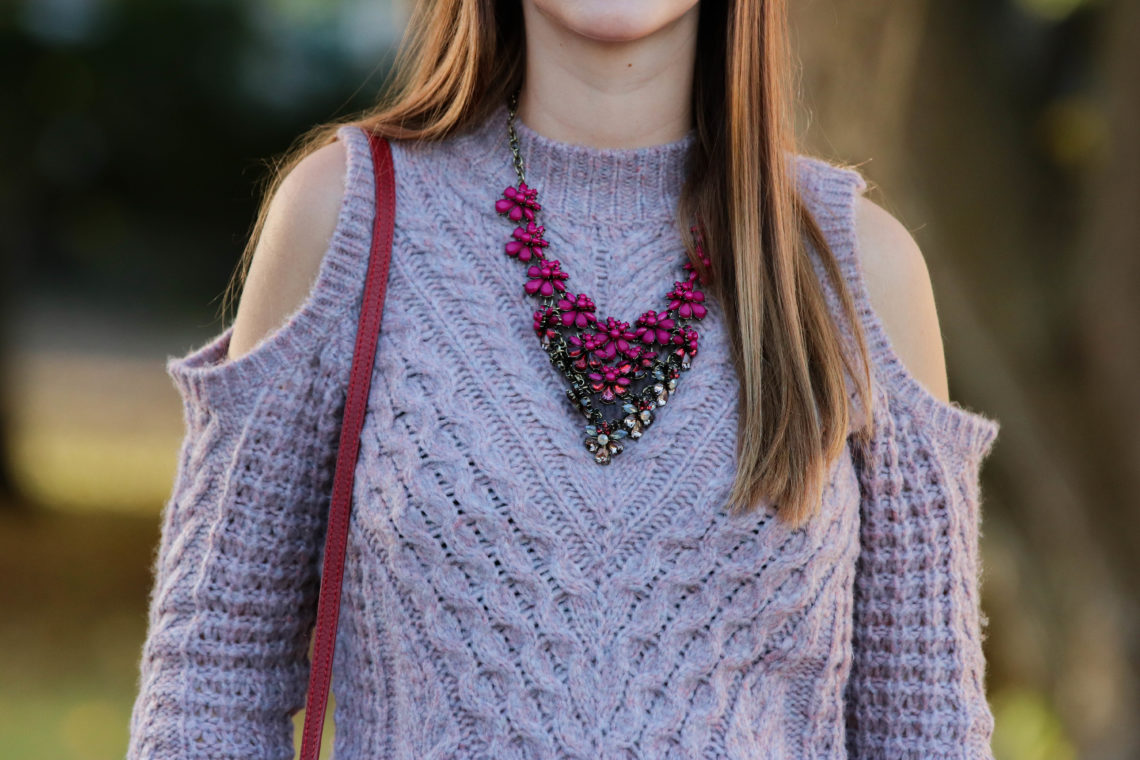 statement necklace, purple sweater, Buablebar necklace