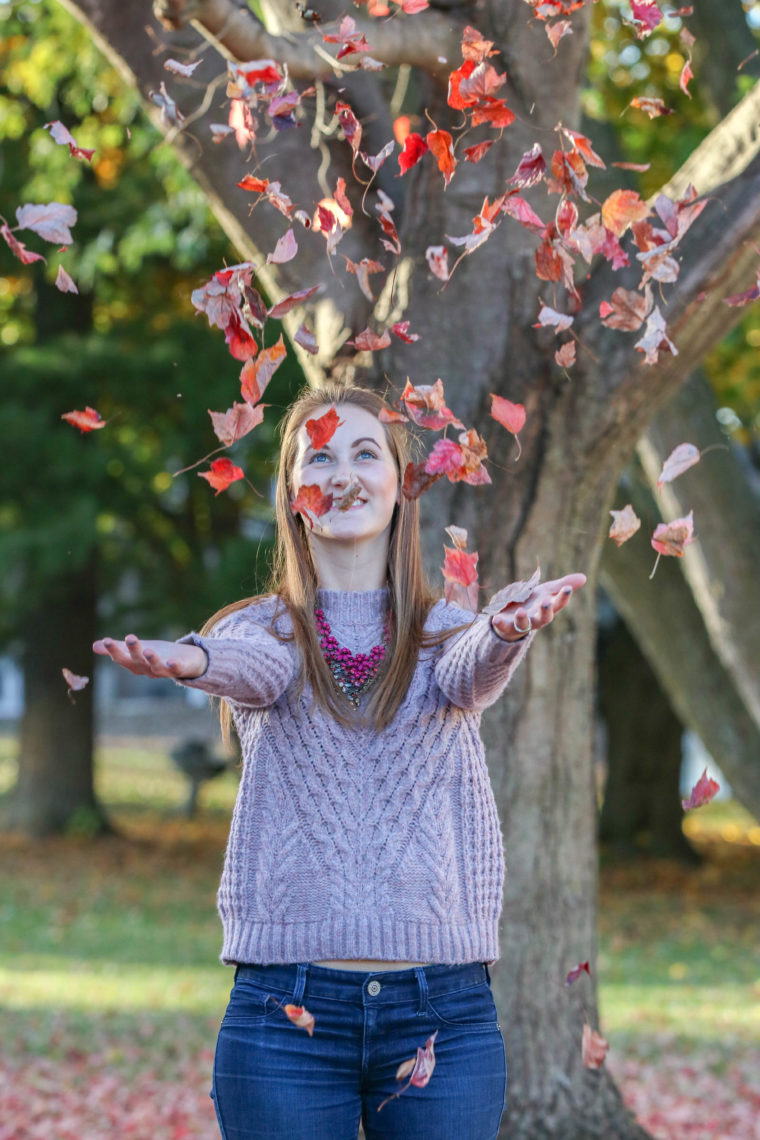 purple sweater, fall, red leaves
