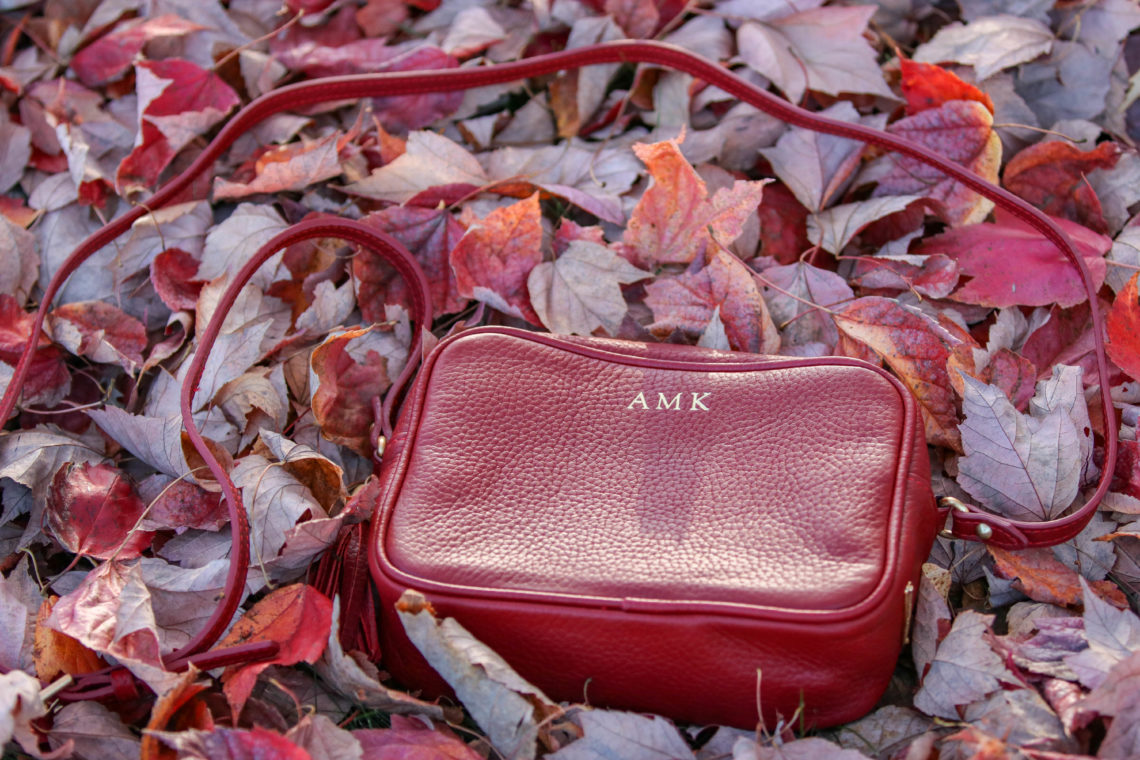 initial bag, GiGi New York bag, red bag, red leaves, fall