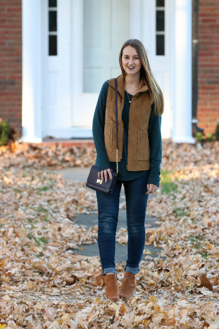 corduroy vest, SIEBoutique, green sweater, brown booties