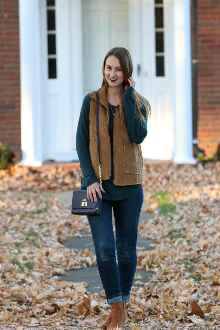 GiGi New York bag, purple bag, corduroy vest, green sweater, fall, fall outfit, fall fashion