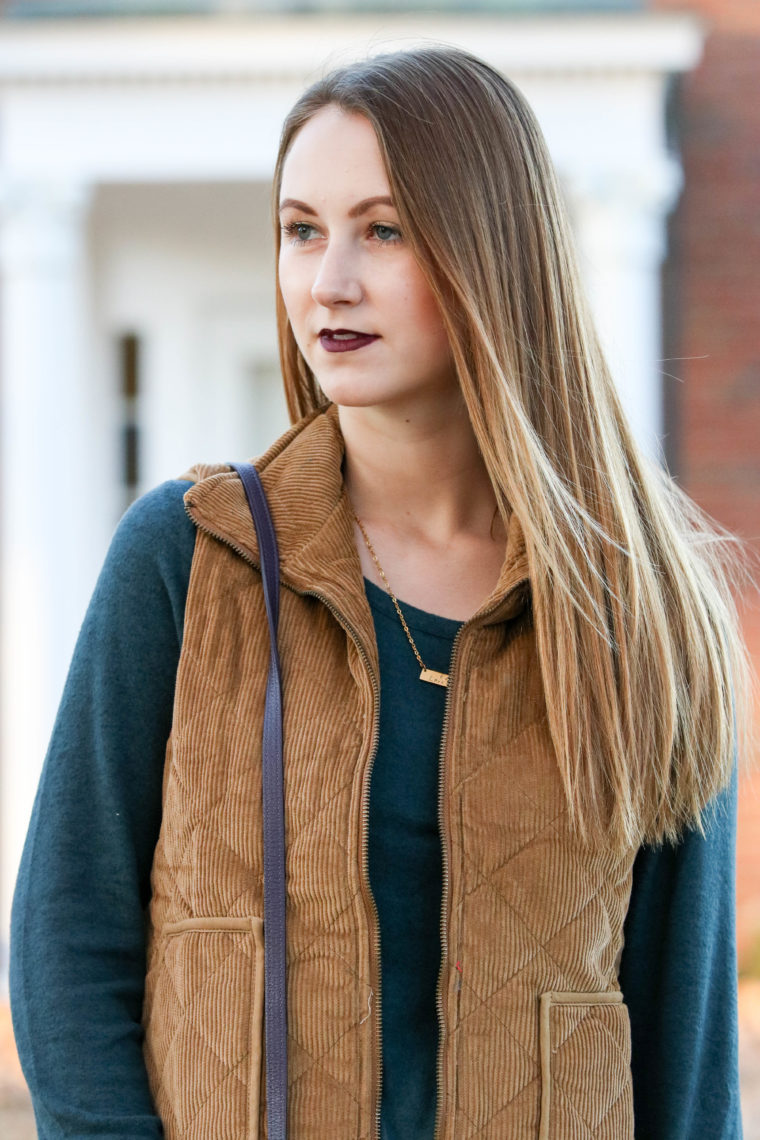 bar necklace, corduroy vest, soft green sweater, fall fashion
