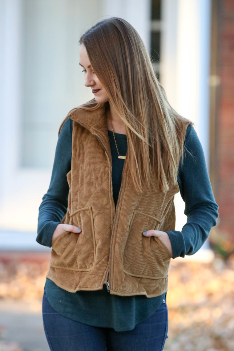 corduroy vest, vest with pockets, emerald sweater, fall fashion, blonde hair