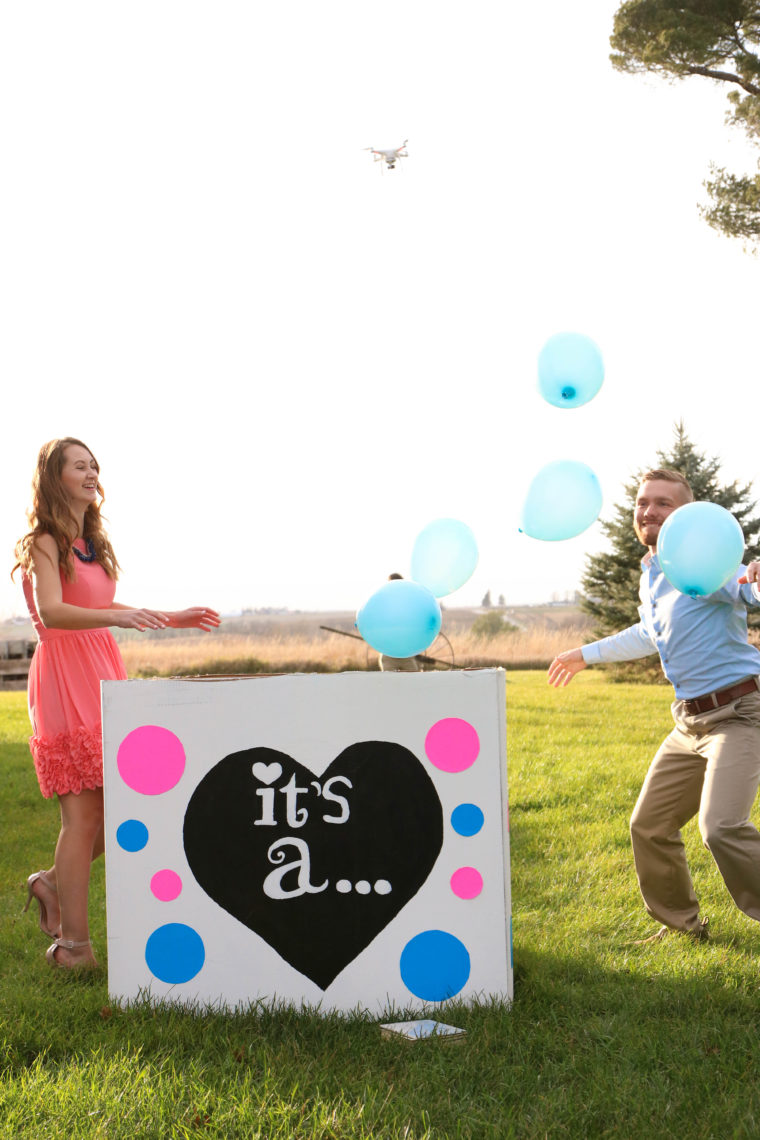 blue balloons, balloon gender reveal, box of balloons, gender party, gender reveal, gender party reveal, it's a boy!