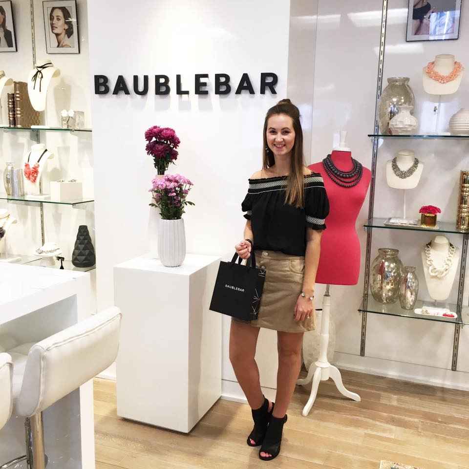 New York Fashion Week, Baublebar showroom, New York, off the shoulder top, suede skirt