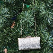 glitter clutch, gold clutch, Christmas tree, holiday bag