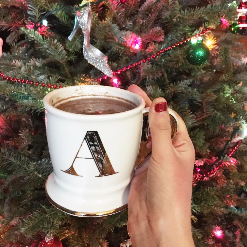 monogram mug, holiday mug, gold mug, Anthropologie mug