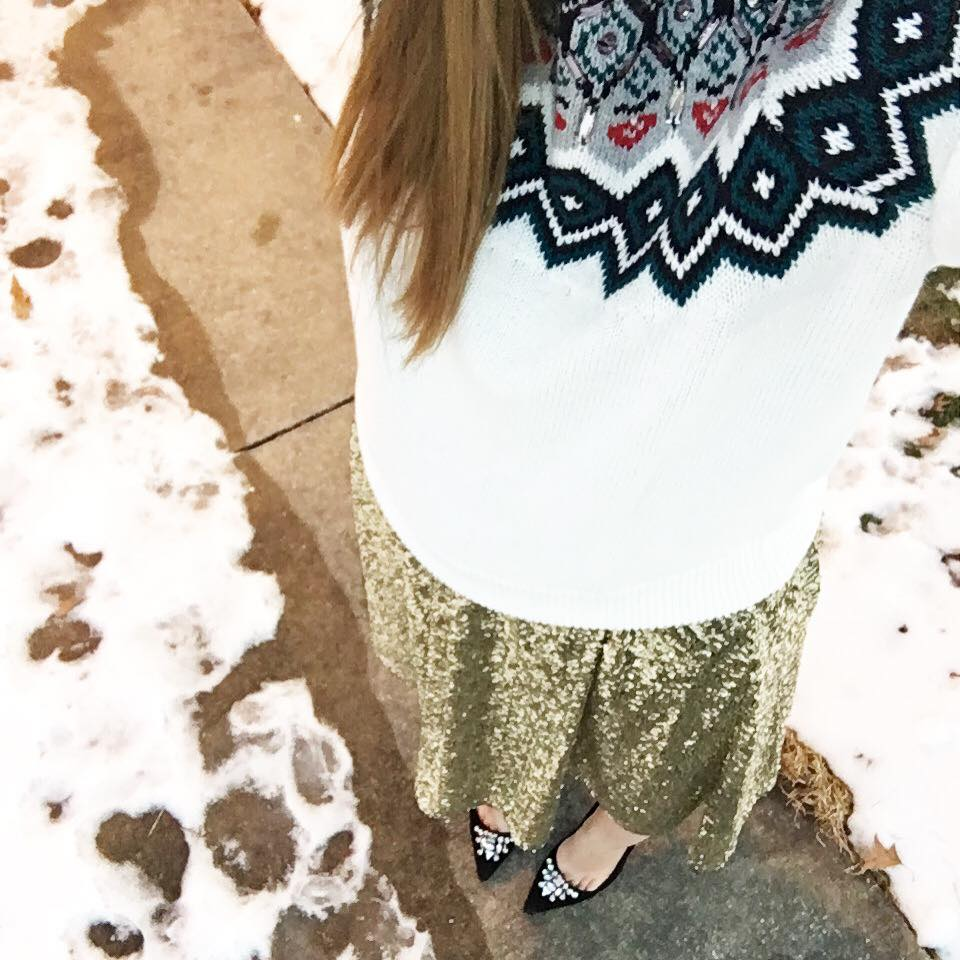 sequin skirt, embellished sweater, holiday outfit, suede pumps