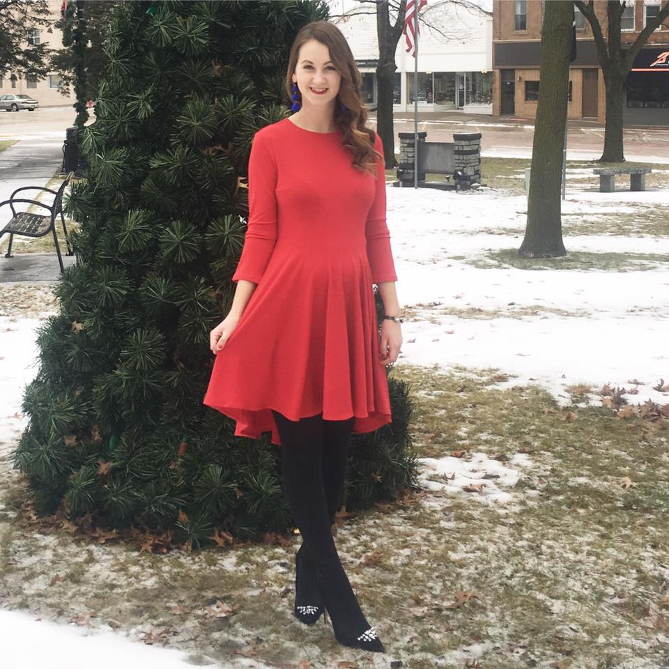 suede pumps, red dress, holiday outfit, statement earrings, Christmas tree