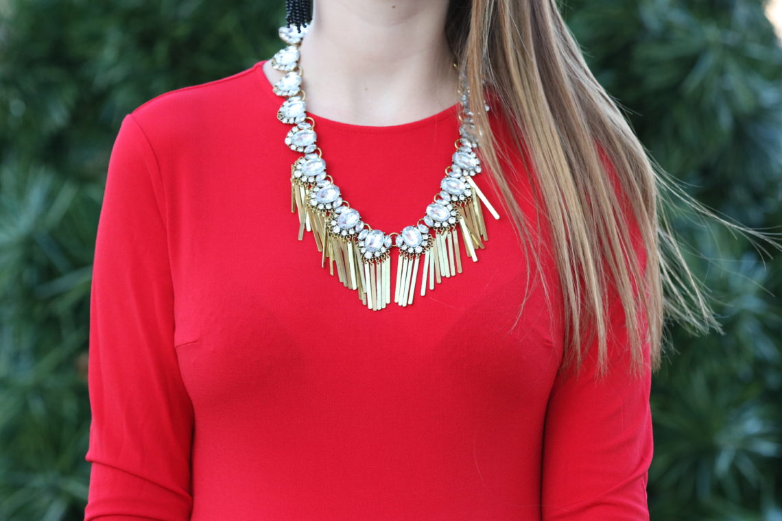 statement necklace, red dress, holiday outfit, Christmas look