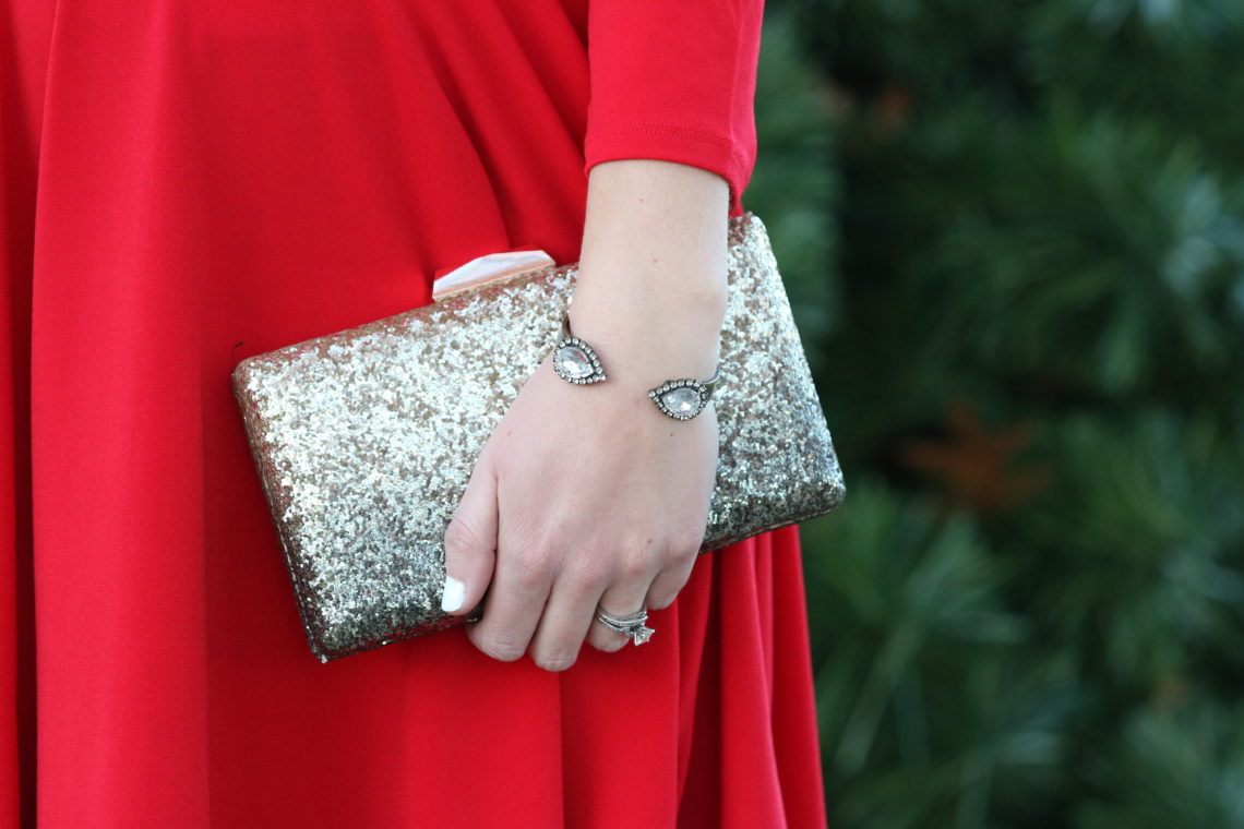 Francescas, glitter clutch, holiday bag. Loren Hope cuff bracelet